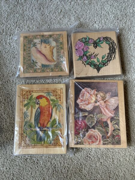 Lot Of 4 Large Wood Mounted Rubber Stamps Assorted