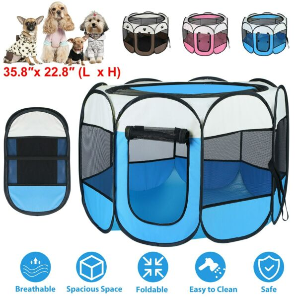 Portable Folding Dog Cage Pet Tent House Playpen Kennel Cat House 8 Side Fence $26.71