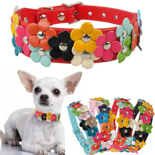 Pet Dogs Cats Flower Collars Puppy Cute Leather Studded Necklaces For Chihuahua $6.19