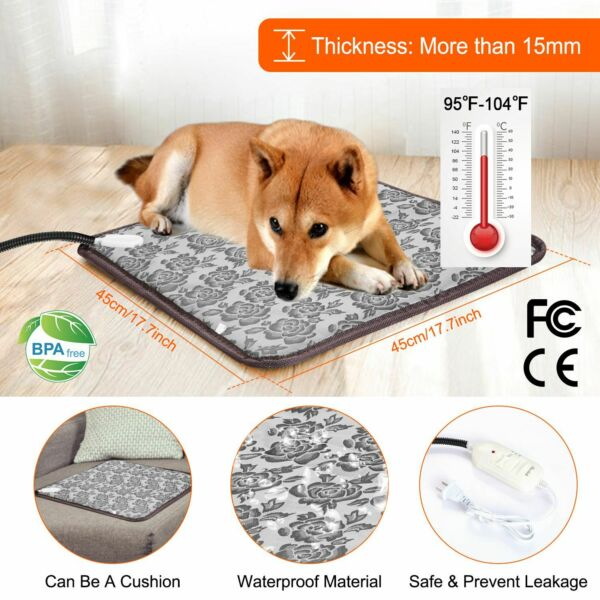 Pet Heated Warmer Bed Waterproof Pad Puppy Dog Bed Cat Mat Electric Heating Mat $18.99