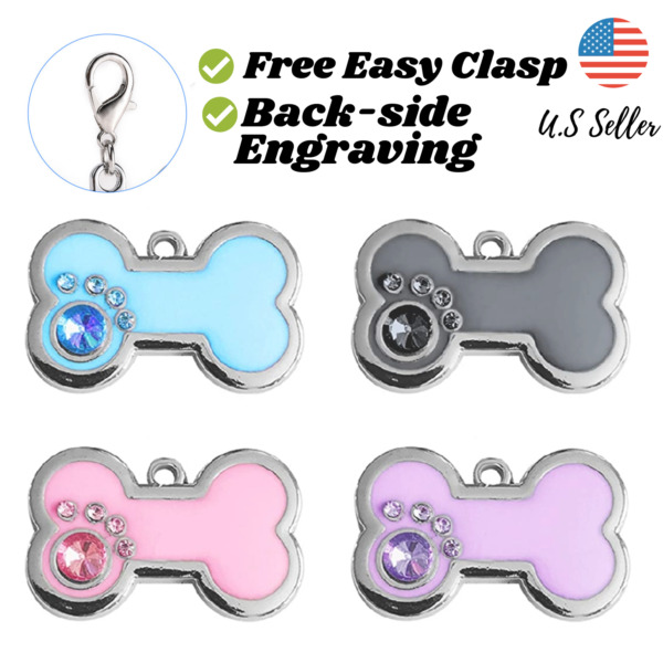 Buy 4 Get 1 Free√ Bone Bling Sparkle Cute Dog Tags Cat Tags Engrave Personalize $5.95