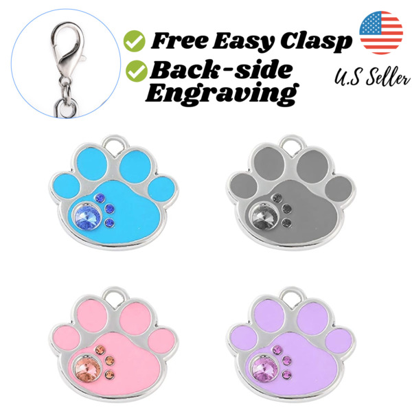 Buy 4 Get 1 Free√ Paw Bling Sparkle Cute Dog Tags Cat Tags Engrave Personalize $5.95