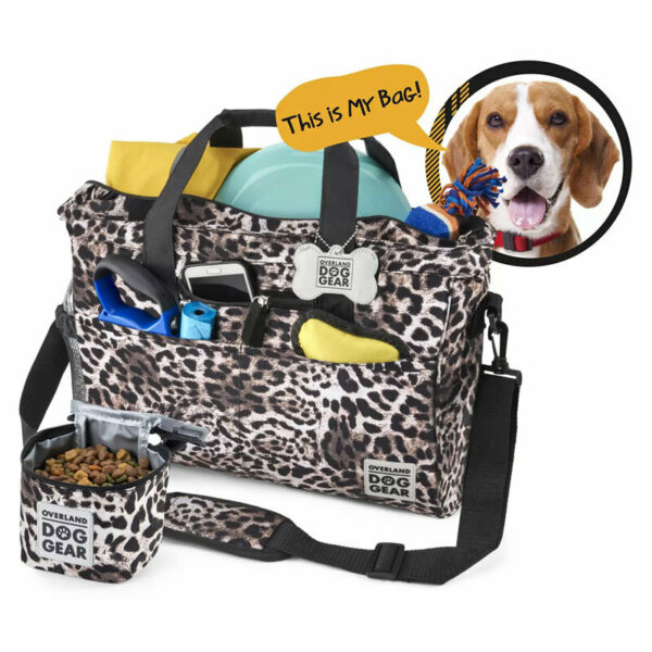 Overland Dog Gear Day Away Tote with Lined Food Carrier Cheetah $28.99