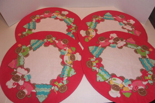 4 Red Round Gingerbread Christmas Linen Fabric Placemats 15quot; Diameter Glitter