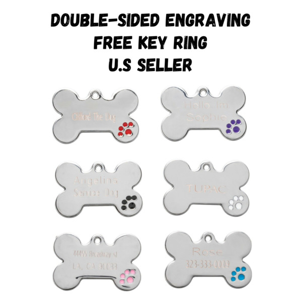 Bone Dog Tags Pet Tag Cat Charm Engraved Personalized $5.95