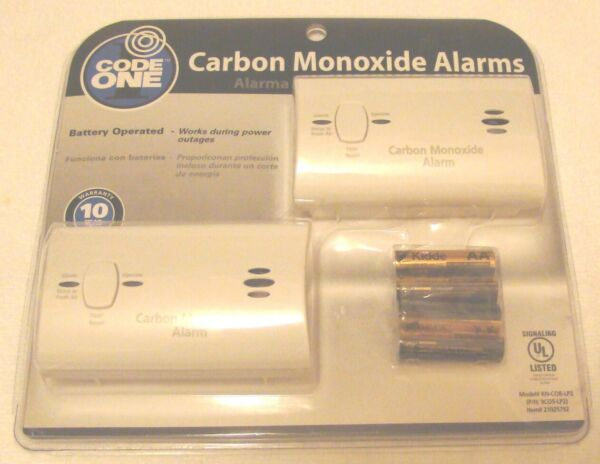 Code One Carbon Monoxide Alarm Battery Operated NEW 2 in pack $28.98