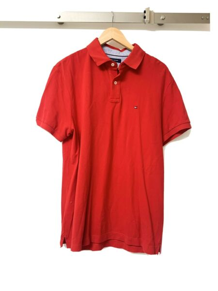 Tommy Hilfiger Mens Shirts Red Size L Polo Classic Fit Short Sleeve $69 376 $9.00