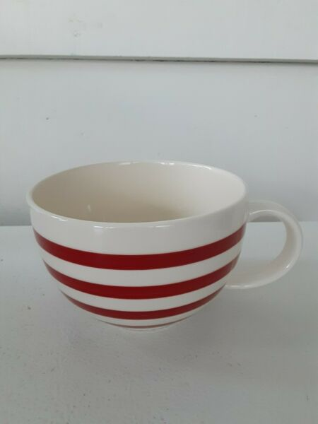 LARGE CRATE amp; BARREL RED AND WHITE STRIPED MUG