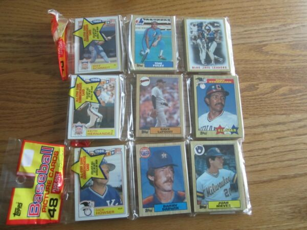 1987 Topps 3 RACK PACKS 48 CARDS EACH 1986 ALL STAR CARD PER PACK $4.75