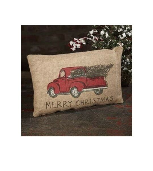 Merry Chistmas Cotton Linen Burlap Red Truck Throw Pillow 8 x 12 Inches