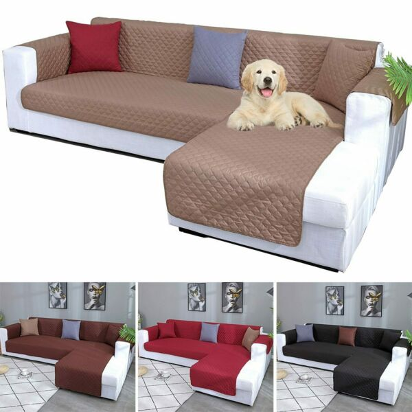 L Shape Sofa Slip Covers Quilted Sofa Cover Pet Couch Mat 1 2 3 4 Seater $63.55