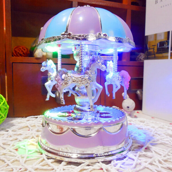Luxury Carousel Music Box 3 Horses Rotate LED Light Luminous Rotation Purple