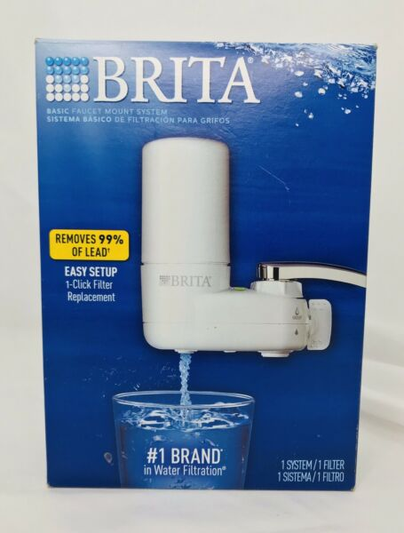 BRITA Faucet Mount WATER FILTRATION SYSTEM Filter White New Open Box