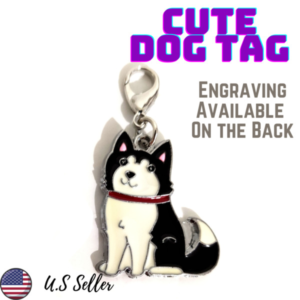 Buy 4 Get 1 Free√Husky Dog Shaped Dog Tags Pet Dog Tag Charm Engrave Personalize $5.95