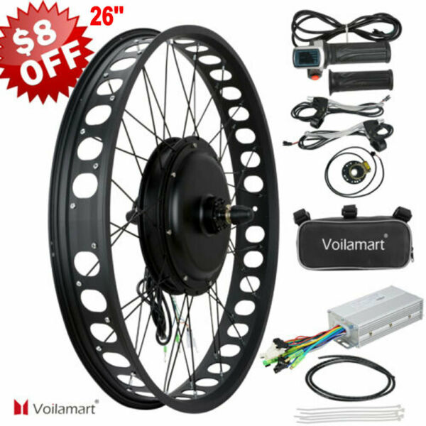 26quot; 1000W 48V Electric Bike Fat Tire Front Wheel Bicycle Motor Conversion Kit $229.58