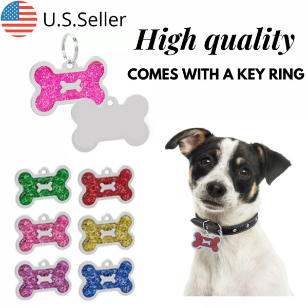 Buy 4 Get 1 Free √ Bone shaped Dog Tags Pet Tag Cat Charm Engraved Personalized $4.95