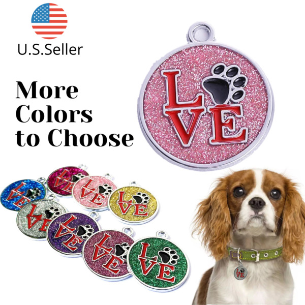 Buy 4 Get 1 Free √ LOVE Dog Tags Pet Tag Cat Tag Name ID Engraved Personalized $4.95