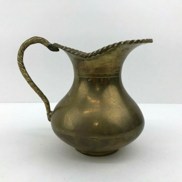 Small Brass Pitcher Vase with Roped Twisted Design Made in India