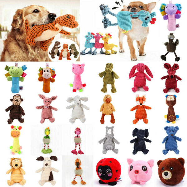 Funny Pet Puppy Chew Animal Shaped Squeaker Squeaky Plush Sound Toy Dog Toys Lot $3.56