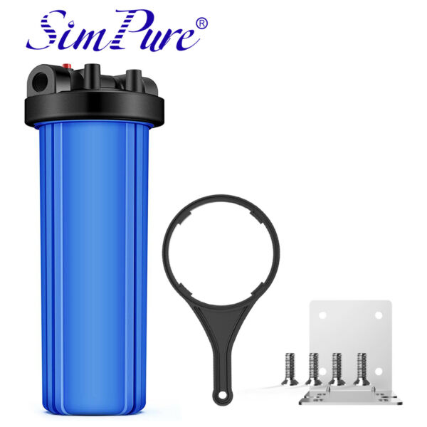 20quot; x 4.5quot; Big Blue Water Filter Housing For Whole House 1quot; Outlet Inlet Classic