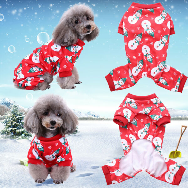 Small Pet Dogs Cats Snowman Printed Pajamas Soft Clothes Apparel Puppy Jumpsuits $7.39