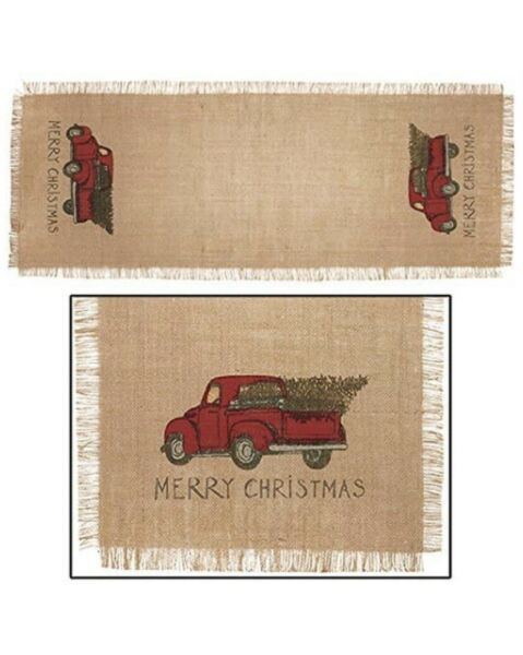 Red Truck Christmas Country Burlap Table Runner 36quot; Farmhouse Primitive