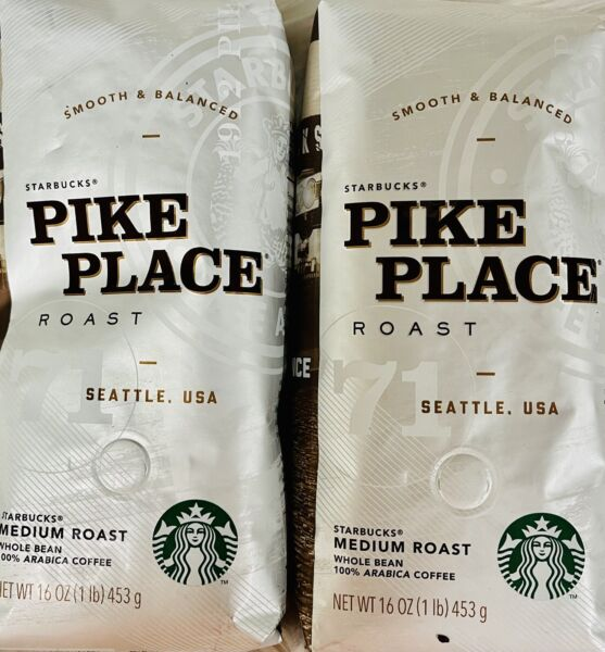 LOT OF 2 STARBUCKS PIKE PLACE COFFEE ROAST WHOLE BEANS 16OZ EACH T3
