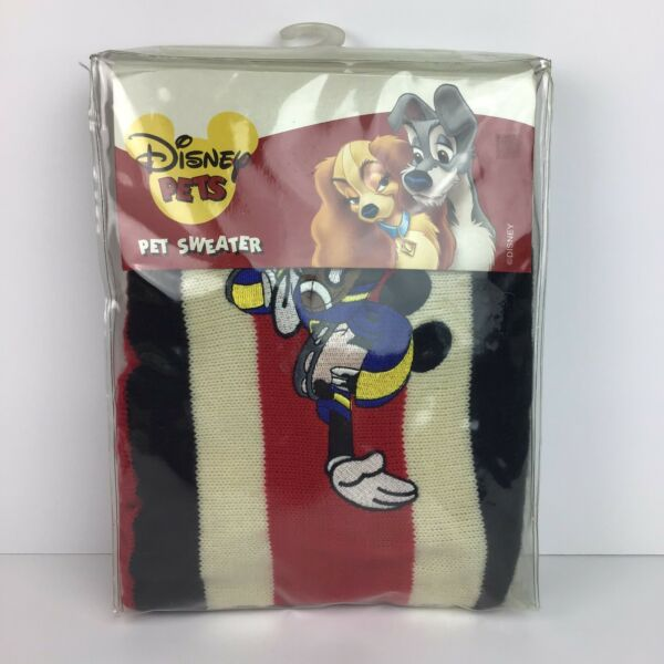 Disney Dog Pets Pet Sweater Shirt Mickey Mouse Football Med Knit Red Black $17.95