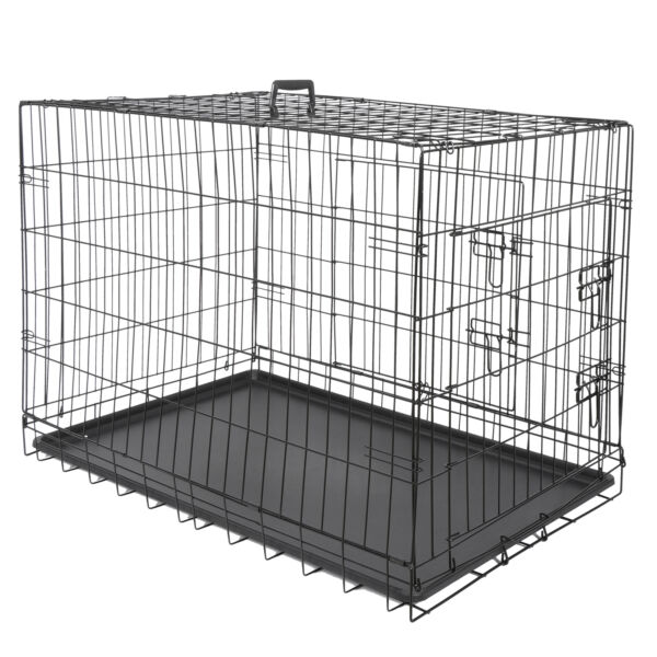 36quot; High Quality Dog Crate Kennel Folding Pet Cage 2 Door With Tray Dog House $37.99