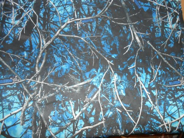 moonshine camo material fabric undertow blue soft stretchy 59#x27;#x27; by 36#x27;#x27; double s