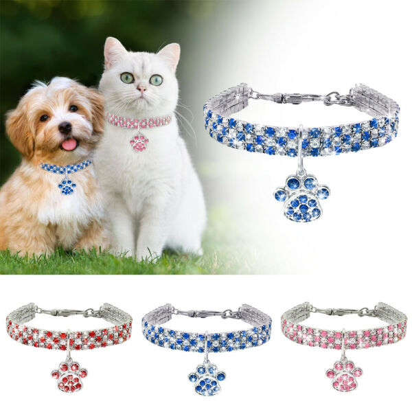 Pet Cat Dog Rhinestone Collar With Paw Pendant For Kitten Chihuahua Necklace NEW $7.29