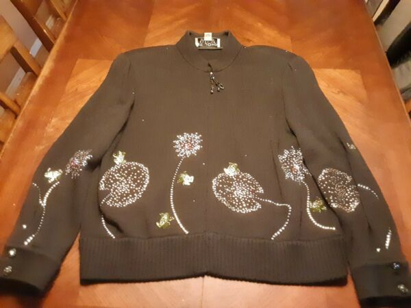 St. John Evening Frogs Flowers Rhinestone Santana Knit Jacket Size 14