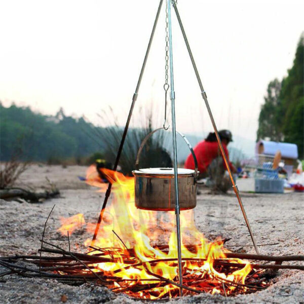 Outdoor Grill Grate Stand Cooking Tripod Set Folding Fire Pit Tool Free Shipping