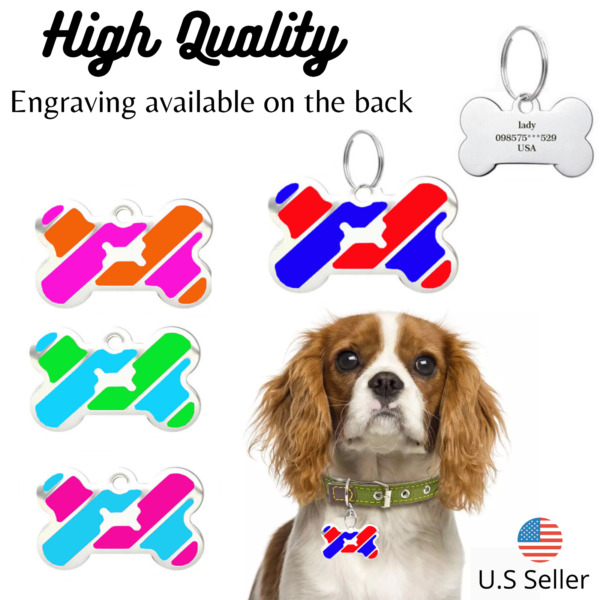 Buy 4 Get 1 Free √Cute Bone Dog Tags Cat Tags Pet Tag Charm Engraved Personalize $4.95