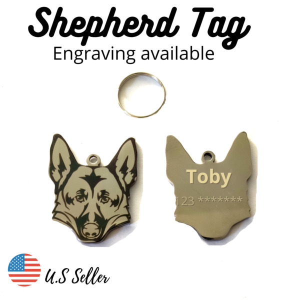 Buy 4 Get 1 Free√ Shepherd Dog Tags Pet Dog Tag Charm Name Engrave Personalize $4.95