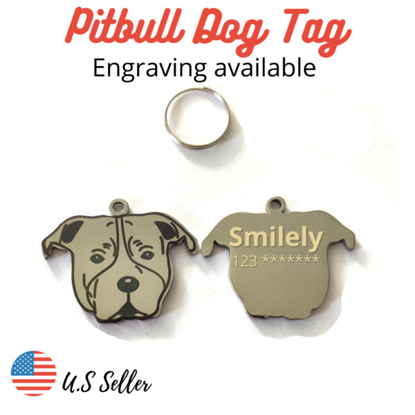 Buy 4 Get 1 Free√ Pitbull Dog Tags Pet Tags Creative Name ID Engrave Personalize $5.95