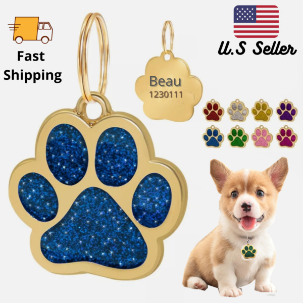 Buy 4 Get 1 Free √ Gold Color Glitter Sparkle Paw Dog Tags Engraved Personalized $4.95