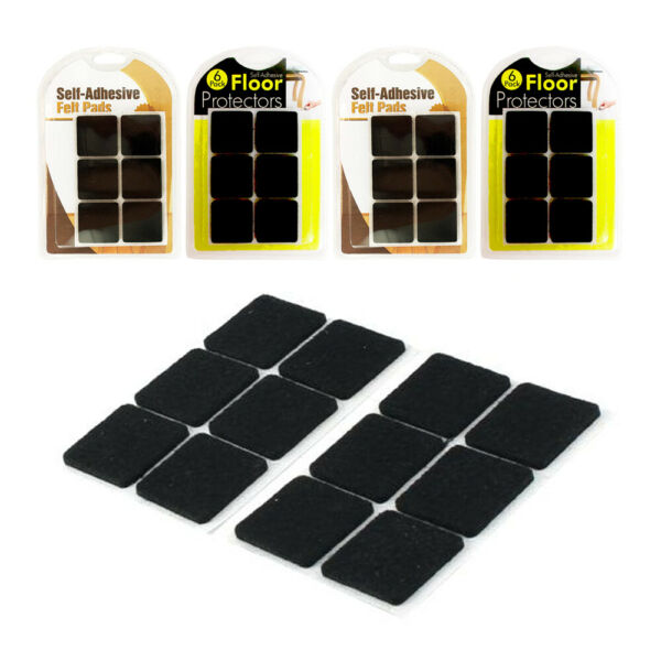 24x Self Adhesive Felt Pads Furniture Floor Scratch Protector Black Square 1.25quot; $6.99