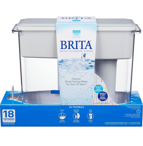 White Brita Extra Large 18 Cup Filtered Water Pitcher Dispenser Portable NEW