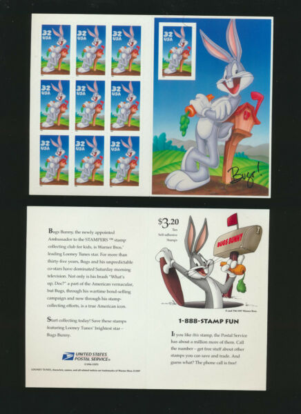 Bugs Bunny 1997 Looney Tunes Pane of Ten Stamps #3137 $13.25 Retail Value $5.97