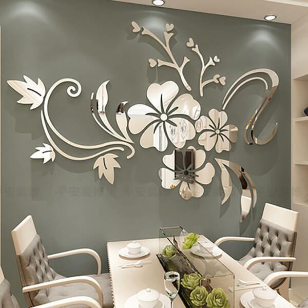 Fashion Flower 3D Mirror Wall Stickers Removable Decal Art Mural Home Decor $8.99