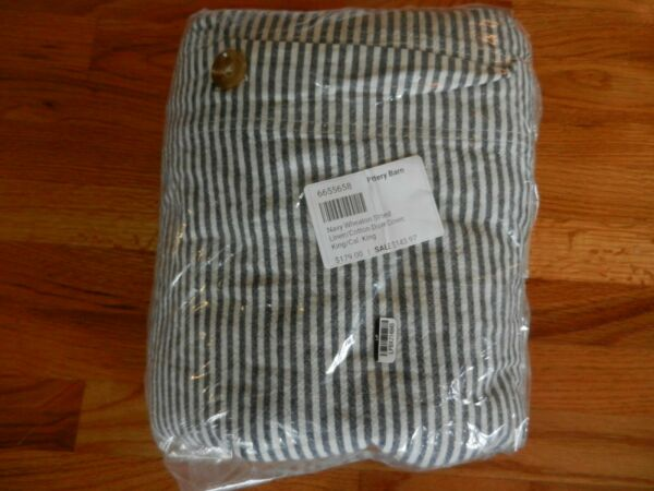 New Pottery Barn Navy Wheaton Striped Linen Cotton Duvet Cover King Cal. King $89.95