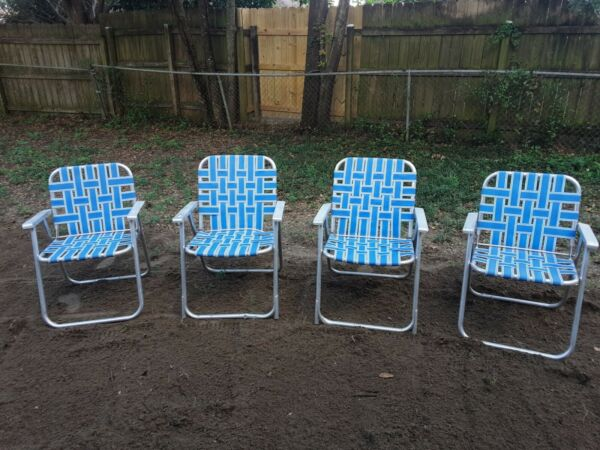 Vintage Aluminum Foldable Webbed Beach Lawn Tailgaiting Patio Chairs $29.95