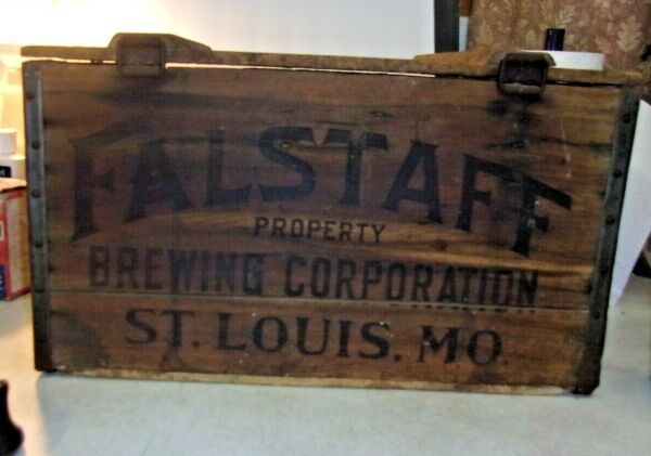 Antique 1936 WOODEN BEER CRATE with hinged lid FALSTAFF St Louis MO 1936