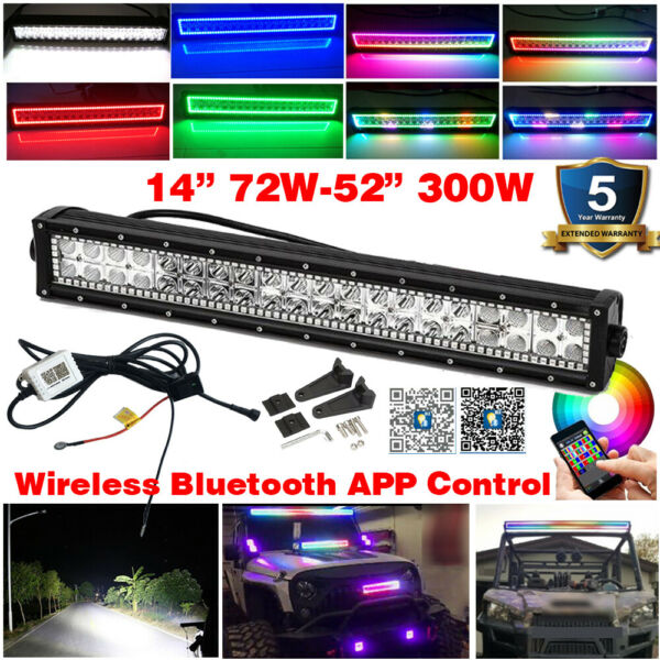 14quot; 52quot; RGB HALO CHASING Bluetooth Strobe Music Rock Flash Offroad Led Light Bar