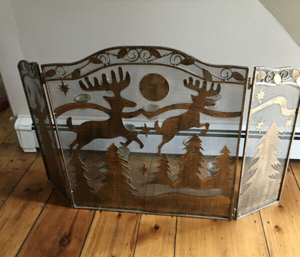 Rustic Metal Heavy Fireplace Screen with Rein Deer amp; Xmas Trees Design 9 Candles