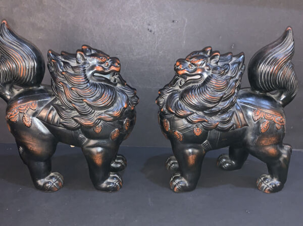 Matching Pair Of Vintage Fitz amp; Floyd Japanese Ceramic Vernissage Foo Lion Dogs $199.99