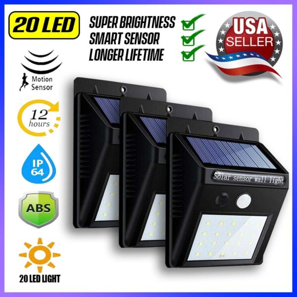 Outdoor 20 LED Solar Wall Lights Power PIR Motion Sensor Garden Yard Path Lamp