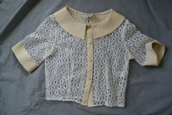 Rachel Antonoff lace and silk cardigan blouse cream and white.