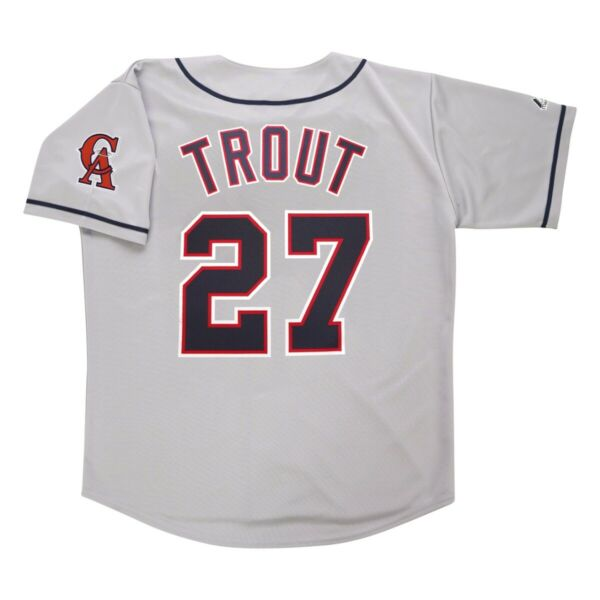 Mike Trout California Angels Grey Road Men#x27;s Throwback Jersey w Team Patch $119.99